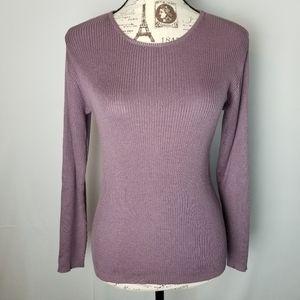 Talbots 100% Silk Purple Ribbed Crewneck Top
